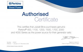 Perkins Authorised Certificate