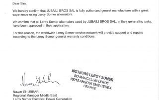 LEROY SOMER Certificate